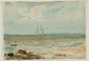 A Two-Masted Sailing Ship Seen from the Shore 1798-9 by Joseph Mallord William Turner 1775-1851